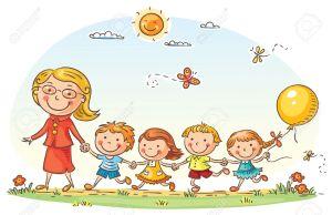 36673561-enfants-cartoon-et-leur-professeur-sur-une-promenade-dans-le-jardin-d-enfants-banque-dimages